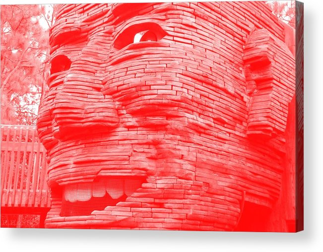 Architecture Acrylic Print featuring the photograph Gentle Giant In Negative Red by Rob Hans