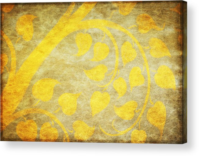Abstract Acrylic Print featuring the painting Golden Tree Pattern On Paper by Setsiri Silapasuwanchai