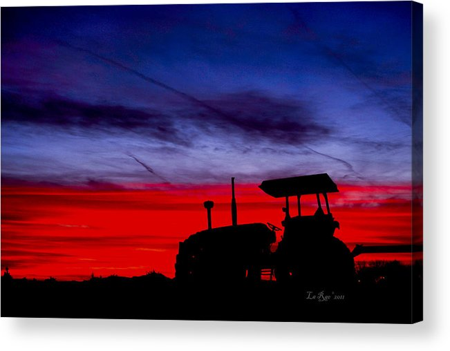 Farming Acrylic Print featuring the photograph Hard Day Ends by La Rae Roberts