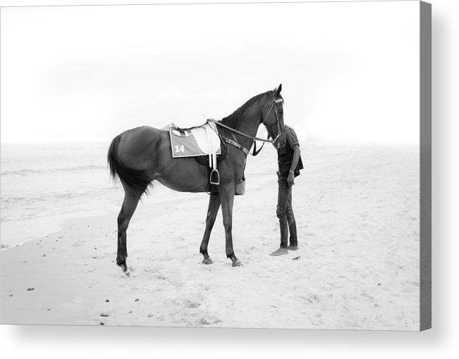 Boy Acrylic Print featuring the photograph Horse And Man On The Beach Black And White by Kittipan Boonsopit