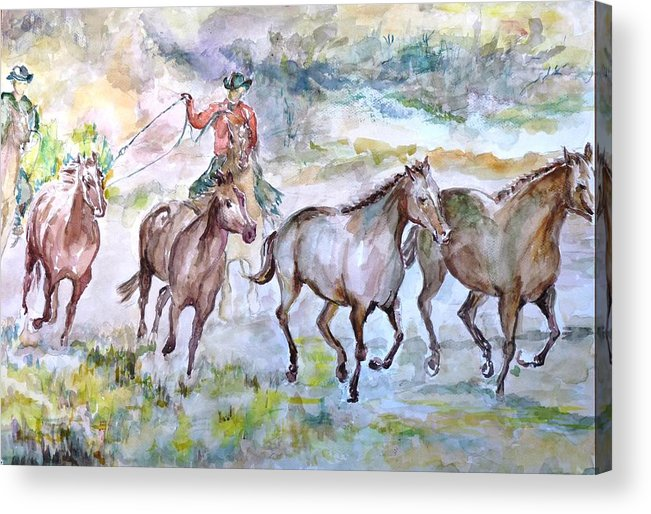Acrylic Print featuring the painting Horsemen by Baruch Neria-Kandel