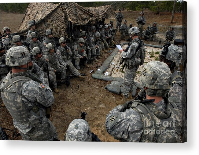 Battalion Acrylic Print featuring the photograph Infantrymen Receive Their Safety Brief by Stocktrek Images