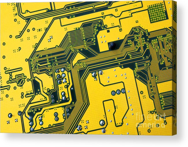 Abstract Acrylic Print featuring the photograph Integrated Circuit by Carlos Caetano