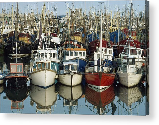 Flat Acrylic Print featuring the photograph Kilkeel, Co Down, Ireland Rows Of Boats by The Irish Image Collection