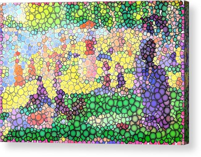 Sunday On La Grande Jatte Acrylic Print featuring the digital art Large Bubbly Sunday On La Grande Jatte by Mark Einhorn