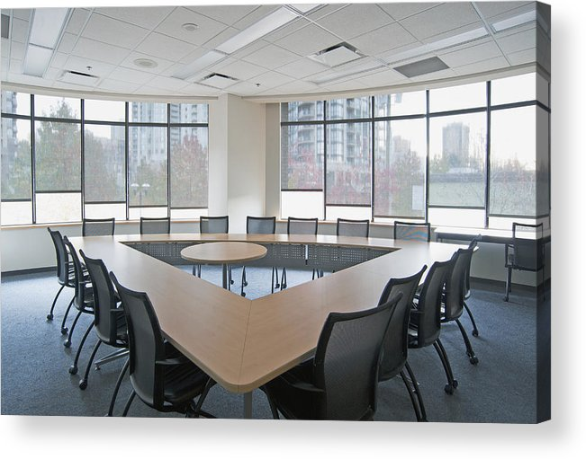 Mood Acrylic Print featuring the photograph Large Empty Boardroom. A Long Narrow by Marlene Ford