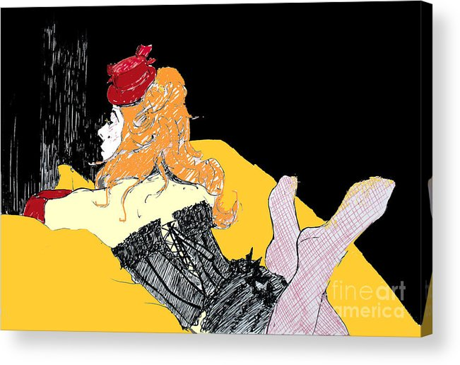 Moulin Rouge Acrylic Print featuring the digital art Lisa With Colour by Joanne Claxton