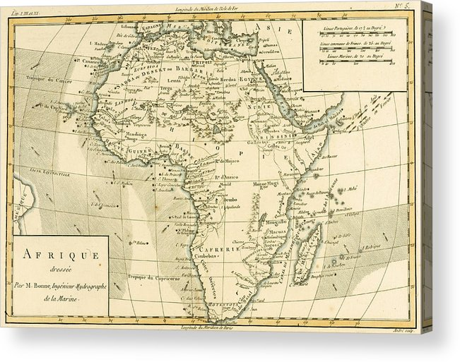 Maps Acrylic Print featuring the drawing Map Of Africa by Guillaume Raynal