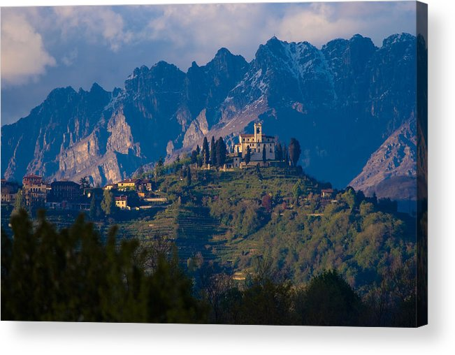 Alps Hills Italy Shrine Mountain Chapel High Acrylic Print featuring the photograph Montevecchia And Resegone by Marco Busoni