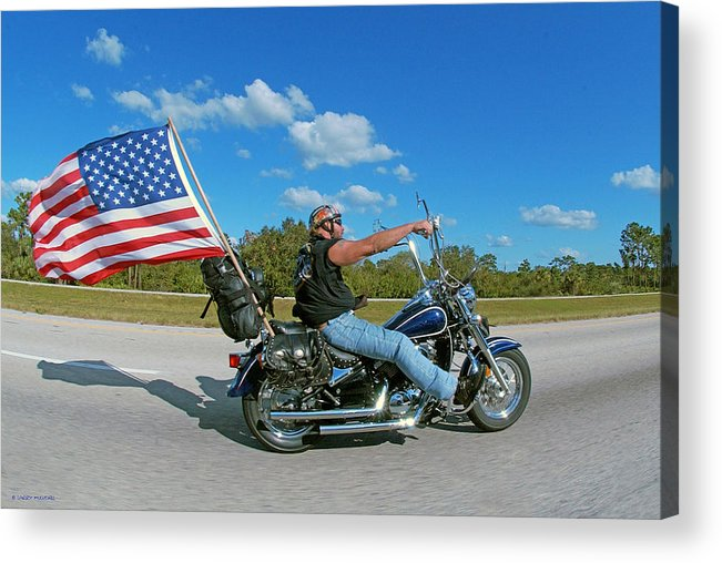 Motorcycle And Flag Acrylic Print featuring the photograph Motorcycle And Flag by Larry Mulvehill