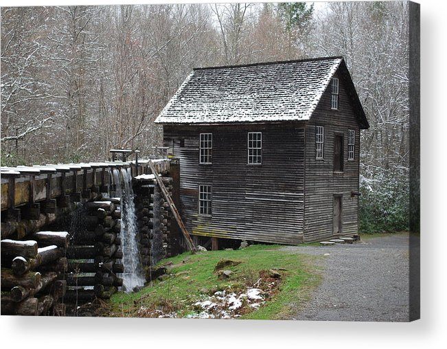 Grist Mill Acrylic Print featuring the photograph Old Grist Mill With Snow by Carrie Munoz