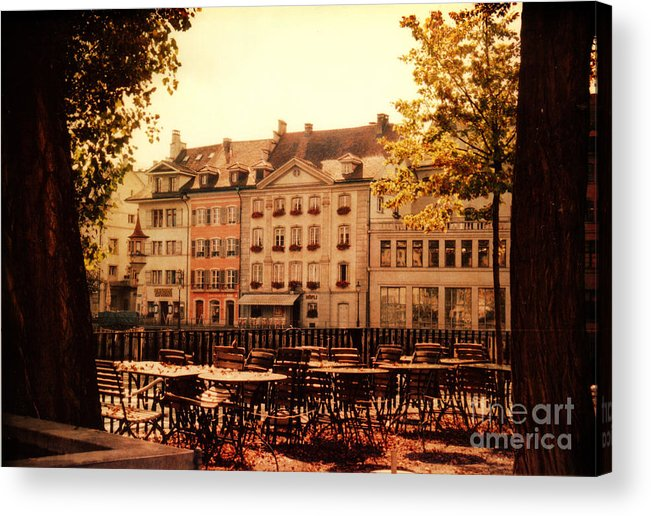 Lucerne Acrylic Print featuring the photograph Outdoor Cafe In Lucerne Switzerland by Susanne Van Hulst