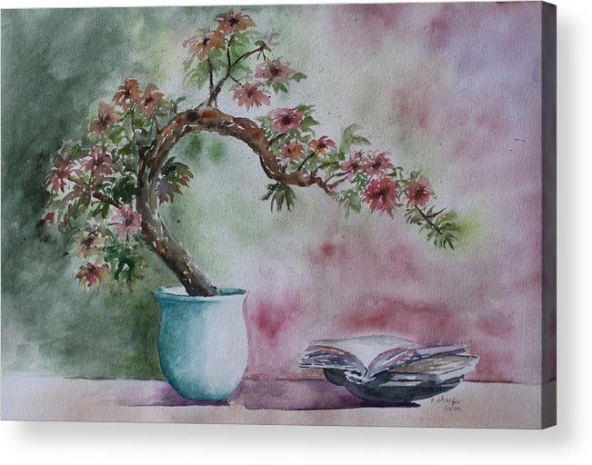 Peaceful Still Life Acrylic Print featuring the painting Peace Of Mind by Patsy Sharpe