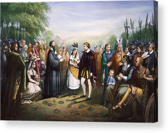 1614 Acrylic Print featuring the photograph Pocahontas & John Rolfe by Granger
