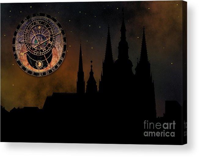 Hradcany Acrylic Print featuring the digital art Prague Casle - Cathedral Of St Vitus - Monuments Of Mysterious C by Michal Boubin