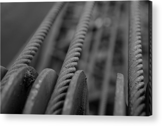 Railroad Acrylic Print featuring the photograph Railroad Crane Cables by Brandon Kamp