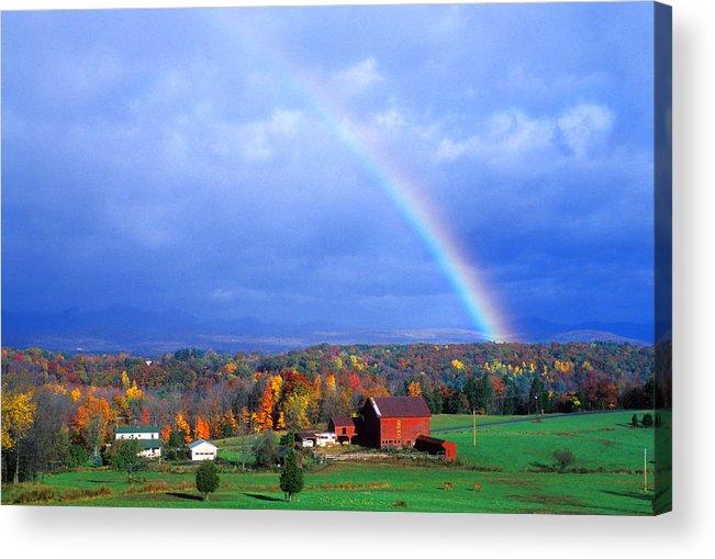 Rainbow Acrylic Print featuring the photograph Red Barn Rainbow by Larry Landolfi