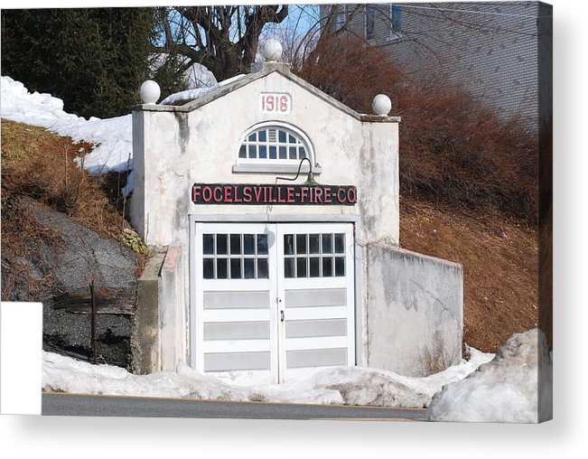 Fire Station.retired.building.fire Company.card.photo.picture. Fire House.retired.doors.windows.folgelsville Fire Company.folgelsville.1919.double Doors.glass Window.hill.pennsylvania. Greeting Card.rescue.help. Acrylic Print featuring the photograph Retired Fire Station by Kathy Gibbons