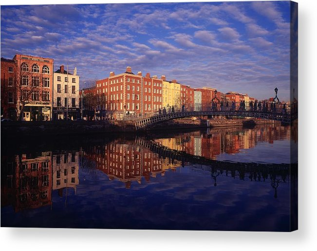 Atmosphere Acrylic Print featuring the photograph River Liffey And Halfpenny, Bridge by The Irish Image Collection