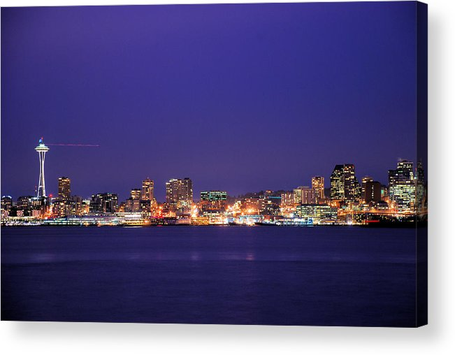 Seattle Acrylic Print featuring the photograph Seattle At Dusk by Michael Merry