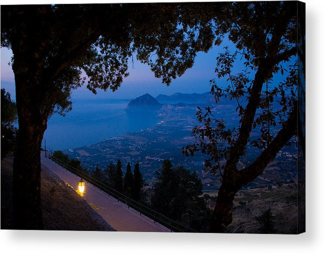 Dusk Sunset Landscape Sea Mediterranean Island Wide Panorama Light Latern Acrylic Print featuring the photograph Sicilian Dusk by Marco Busoni