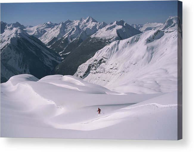 Model Released Photography Acrylic Print featuring the photograph Skier Phil Atkinson Heads Down Mount by Tim Laman