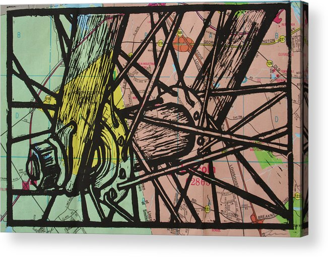 Spokes Acrylic Print featuring the drawing Spokes On Map by William Cauthern