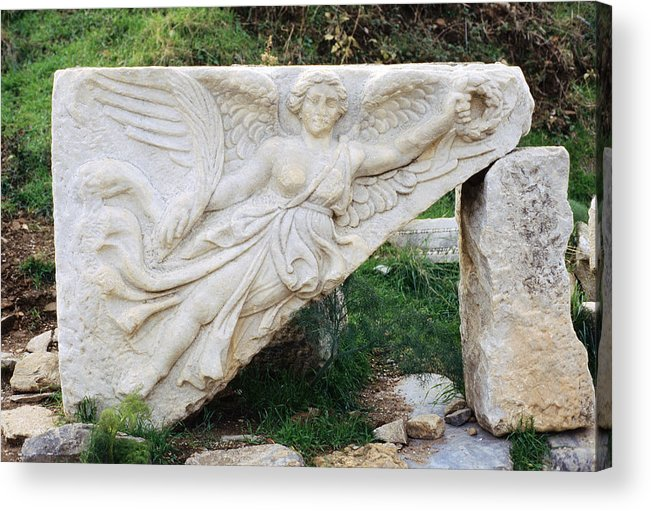 Stone Carving Acrylic Print featuring the photograph Stone Carving Of Nike by Mark Greenberg