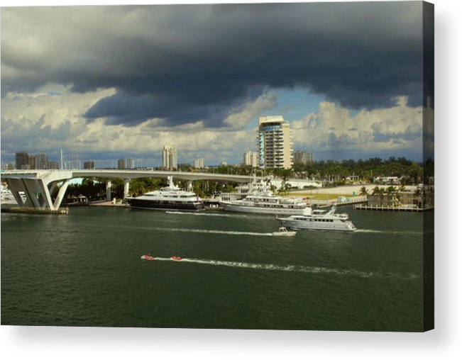 Florida Acrylic Print featuring the photograph Stormy Fort Lauderdale by Gary Wonning