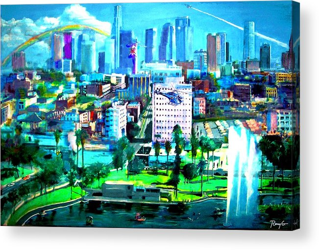 Los Angeles Acrylic Print featuring the painting The City Of Angels by Romy Galicia