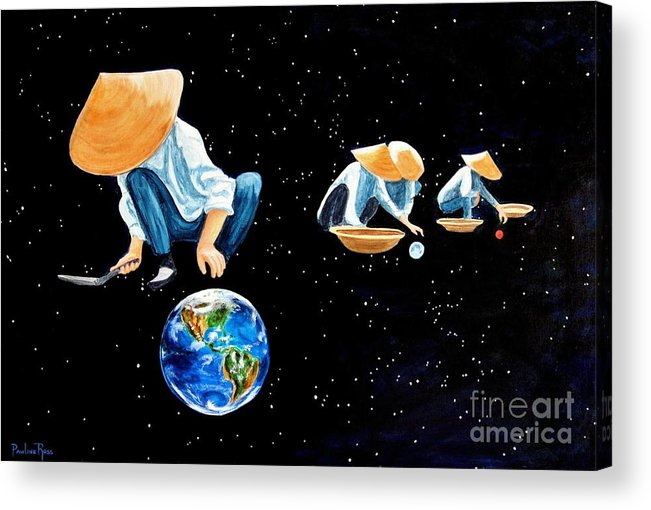 Earth Acrylic Print featuring the painting The Grass Is Always Greener On The Other Side Of Uranus by Pauline Ross