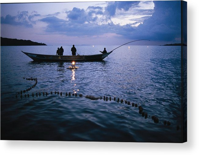 Peoples Acrylic Print featuring the photograph Ugandan Men Using Nets And Lanterns by Michael S. Lewis