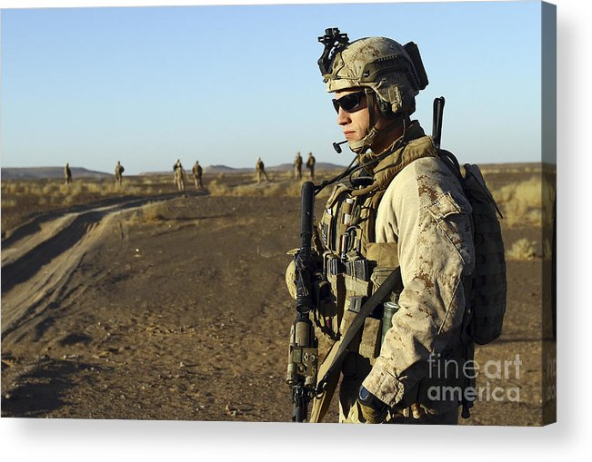 Marine Acrylic Print featuring the photograph U.s. Marine Posts Security by Stocktrek Images