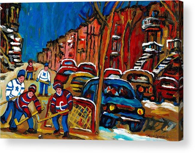 Streets Of Verdun Hockey Paintings By Montreal Artist Carole Spandau Acrylic Print featuring the painting Verdun Rowhouses With Hockey - Paintings Of Verdun Montreal Street Scenes In Winter by Carole Spandau