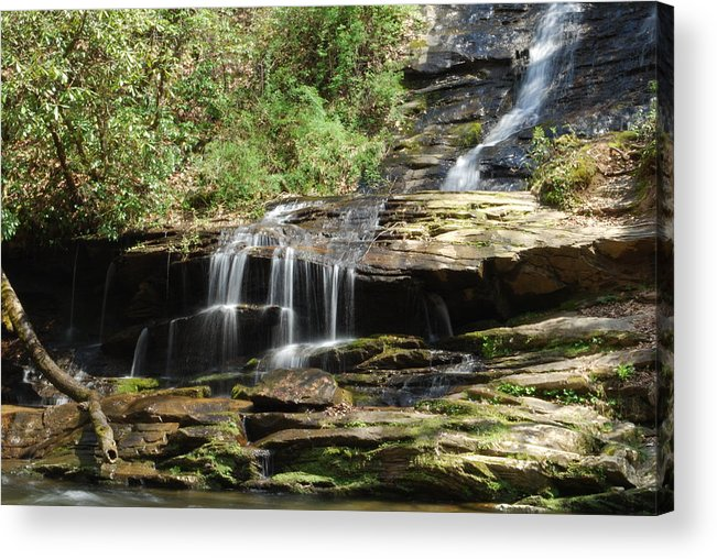 Waterfall Acrylic Print featuring the photograph Waterfall Over Rocks by Carrie Munoz