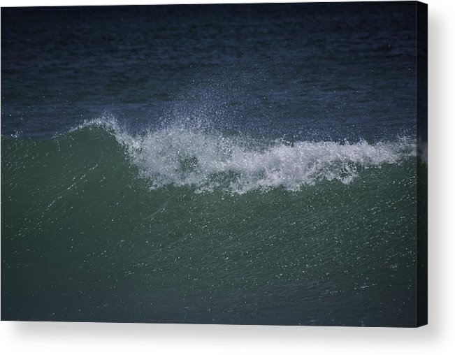 Wave Sprey On A Windy Day At Jupiter Beach Acrylic Print featuring the photograph Wave Sprey On A Windy Day At Jupiter Beach by Robert Valentine