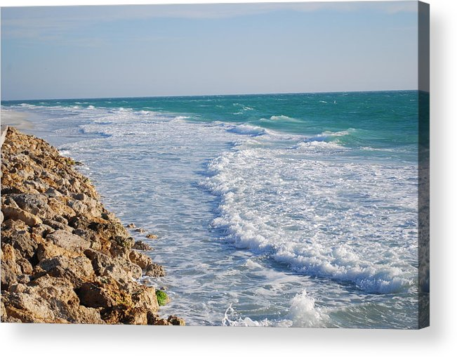 Beach Acrylic Print featuring the photograph Waves At The Beach by Carrie Munoz