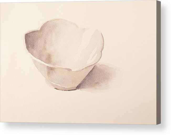 Walt Maes Acrylic Print featuring the painting White Tulip Bowl by Walt Maes