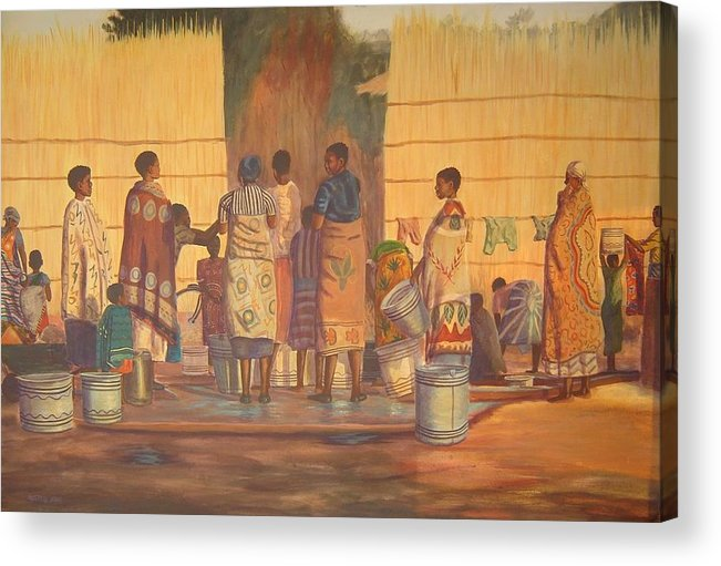 African Acrylic Print featuring the painting Women At Bolehole by Nisty Wizy