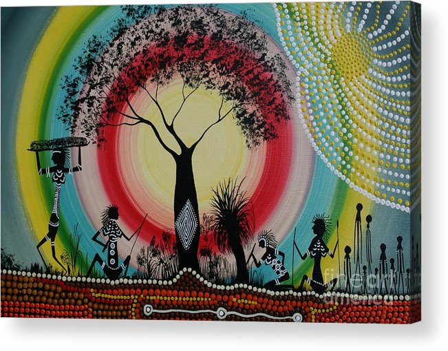 Aboriginal Art Acrylic Print featuring the painting Women Under The Wisdom Tree by David Dunn