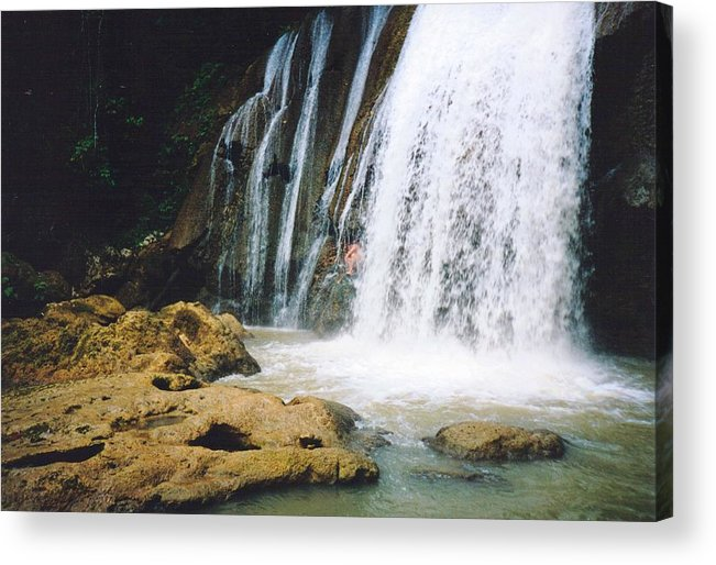Jamaica Acrylic Print featuring the photograph Ys Falls4 Jamaica by Debbie Levene