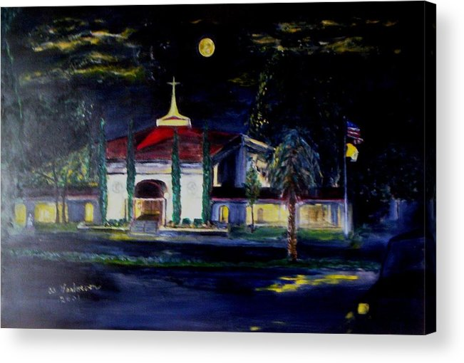 Saint Benedict Roman Catholic Church Gulf Coast Florida Usa Acrylic Print featuring the painting After The Storm by Alfred P Verhoeven
