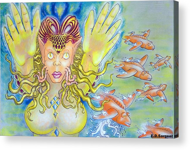 Fantasy Acrylic Print featuring the painting Fly N Fish by Eddie Sargent