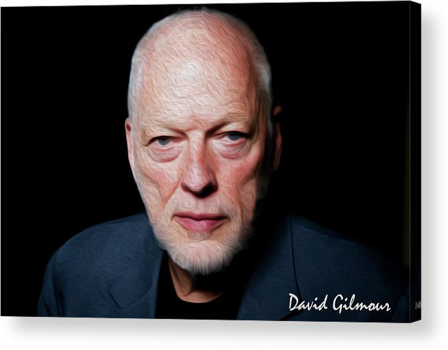 David Gilmour Acrylic Print featuring the painting Gilmour By Nixo by Never Say Never