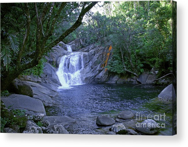 Tropical Acrylic Print featuring the photograph Josephine Falls And Tropical Pool by Kerryn Madsen- Pietsch