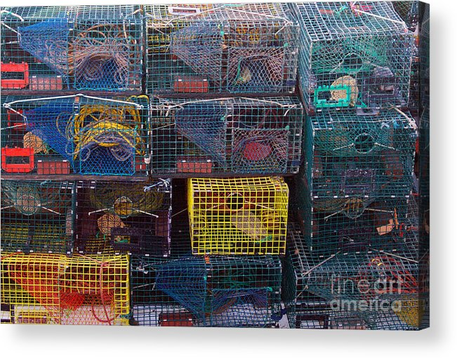 Linda Drown Acrylic Print featuring the photograph Lobster Traps by Linda Drown