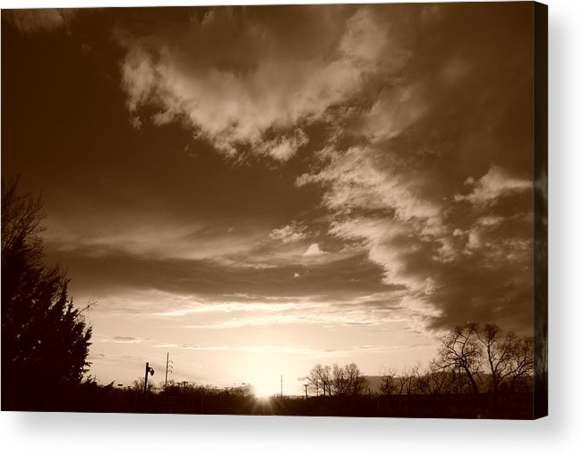 Sunset Acrylic Print featuring the photograph Sunset And Clouds by Rob Hans