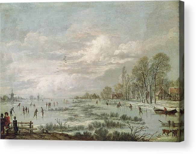 Winter Acrylic Print featuring the painting Winter Landscape by Aert van der Neer