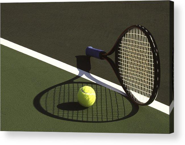 Tennis; Racquet; Ball; Balls; Shadow; Game; Games; Sport; Sports; Shadow; Tennis Ball; Tennis Racquet; Competition Acrylic Print featuring the photograph 10sne1 by Gerard Fritz