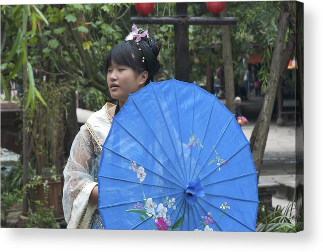 Girl Acrylic Print featuring the photograph 4479- Girl With Umbrella by David Lange